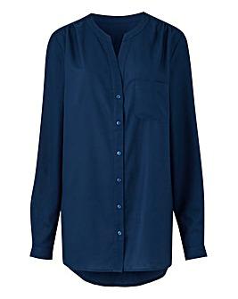 Navy Collarless Viscose Shirt