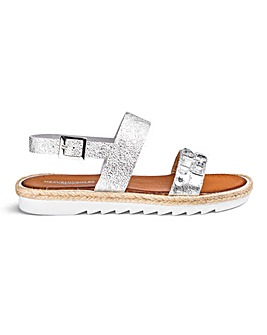 Heavenly Soles Premium Made In Italy Jewel Detail Sandals Wide E Fit