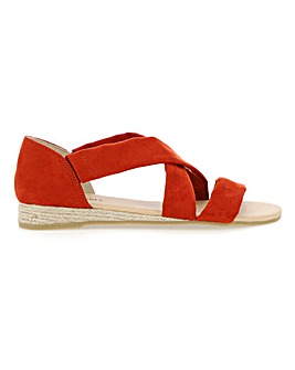 Soft Strap Low Wedge Espadrille Sandals Wide E Fit