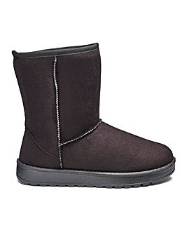Warm Lined Pull On Ankle Boots EEE Fit