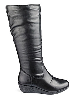 Leather Wedge Boots E Fit Standard Calf