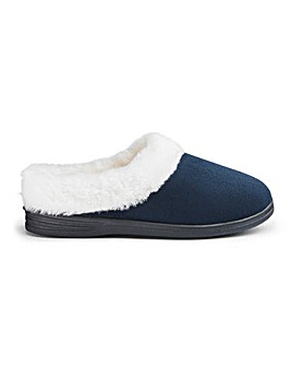 Cushion Walk Warm Lined Mule Slippers Wide E Fit