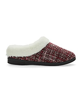 Cushion Walk Warm Lined Mule Slippers Extra Wide EEE Fit