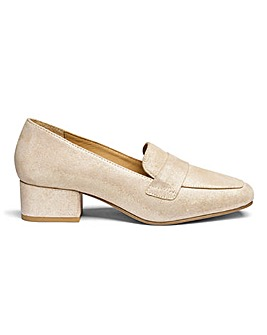 Block Heel Leather Loafers EEE Fit