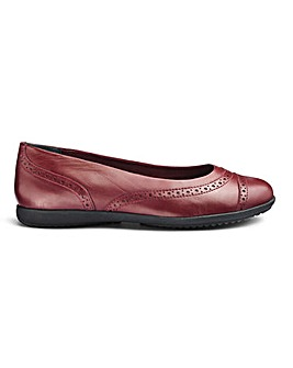 Leather Brogue Slip On Shoes EEE Fit