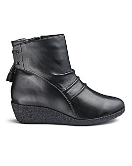 Leather Wedge Ankle Boots E Fit