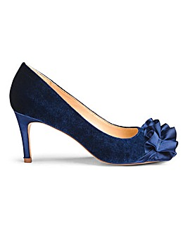 Joanna Hope Velvet Peep Toe Ruffle Detail Occasion Shoes Extra Wide EEE Fit