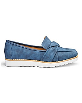 Knotted Vamp Slip On Loafers Wide E Fit