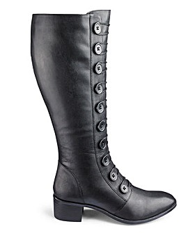 Lotus Knee High Button Detail Spindle Leather Boots Wide E Fit Curvy Plus Calf