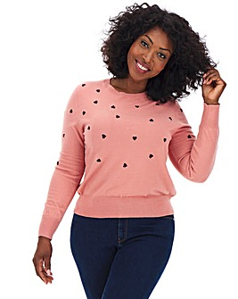 Oasis Curve Heart Embroidered Jumper