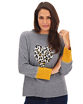 Oasis Curve Animal Heart Novelty Jumper