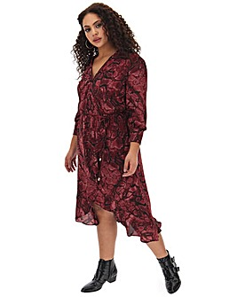 Oasis Curve Snake Print Wrap Dress