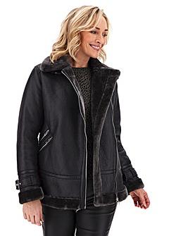 Oasis Curve Faux Shearling Biker Jacket