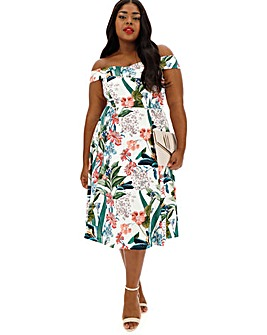 Oasis Curve Tropical Bardot Midi Dress