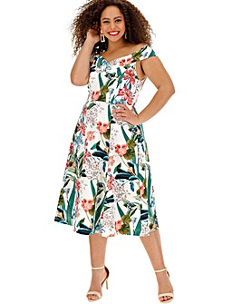 Oasis Curve Tropical Bardot Midi Dress