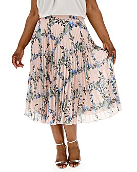 Oasis Curve Floral Pleated Skirt