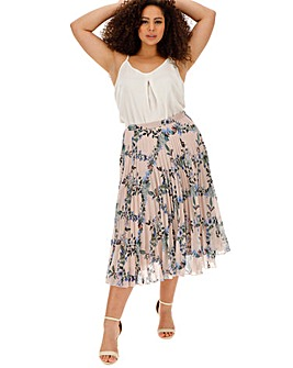 Oasis Curve Ditsy Floral Print Pleated Skirt