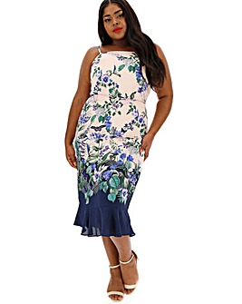 Oasis Curve Bloom Print Midi Dress