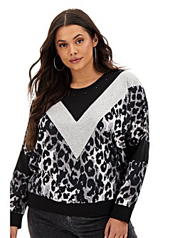 Religion Chevron Animal Print Sweatshirt