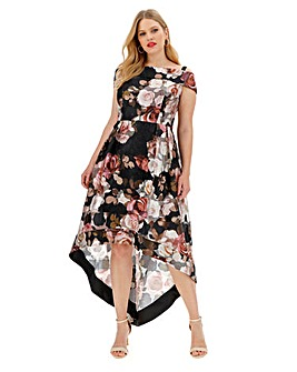 Chi Chi London Dip Hem Printed Dress