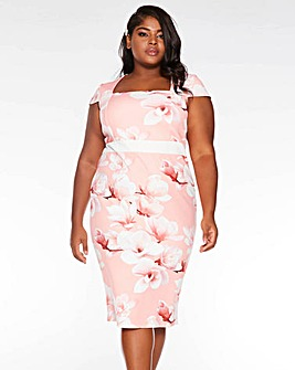 Quiz Foral Print Square Neck Midi