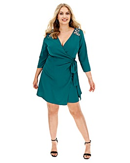 Little Mistress Embellished Wrap Dress