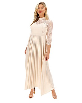 Little Mistress Pleated Lace Maxi Dress