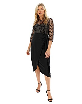 Little Mistress Animal Lace Midi Dress