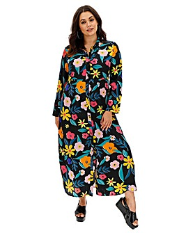 Neon Rose Floral Print Maxi Shirt Dress