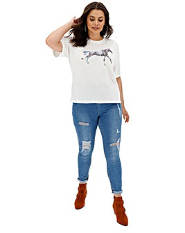 Neon Rose Horse Print T-Shirt