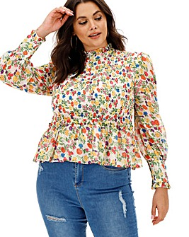Neon Rose Floral Shirred Peplum Blouse