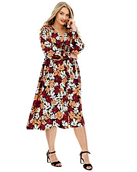 Neon Rose Floral Shirred Midi Dress
