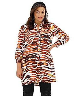 Neon Rose Tiger Print Oversized Shirt