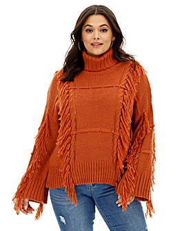 Neon Rose Rust Tassle Roll Neck