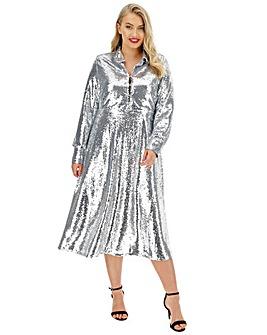 Neon Rose Sequin Midaxi Shirt Dress