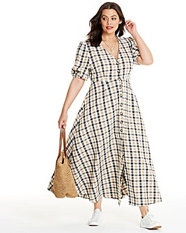Neon Rose Check Maxi Tea Dress