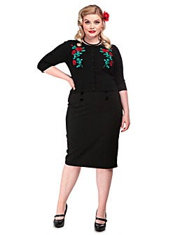 Collectif Lucy Dark Rose Cardigan