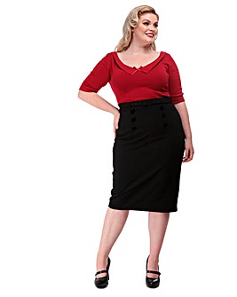 Collectif Agatha Plain Pencil Skirt