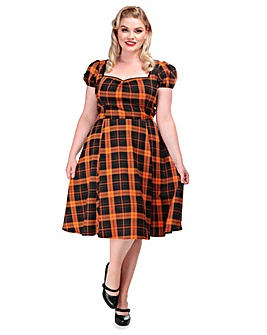 Collectif Pumpkin Check Doll Dress