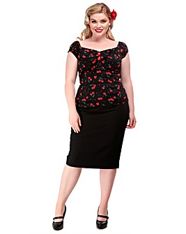 Collectif Dolores Cherry Print Top