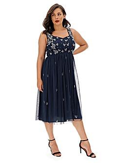 Maya Curve Sequin Strap Midi Dress