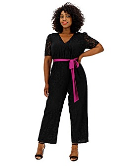 Lovedrobe Lace Jumpsuit With Belt
