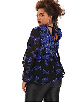 Lovedrobe Satin Mixed Print Top