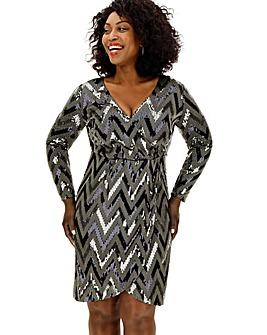 Lovedrobe Chevron Sequin Dress