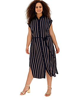 Oasis Stripe Midi Shirt Dress