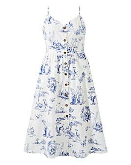 Oasis Button Cotton Midi Dress
