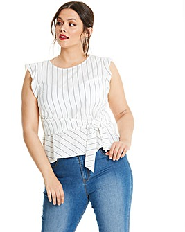 Oasis Linen Look Stripe Tshirt