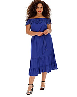 Oasis Lace Trim Bardot Midi Dress