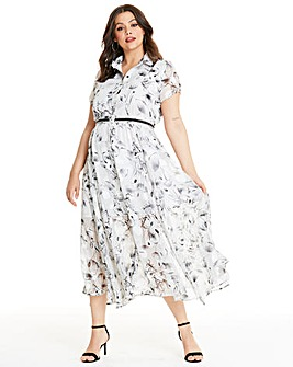 Religion Floral Print Shirt Dress