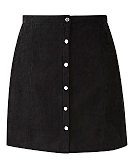 Oasis Curve Suede Popper Skirt